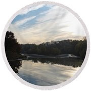Centennial Lake Autumn - Great View From The Bridge Round Beach Towel