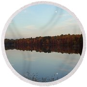 Centennial Lake Autumn - Reflective Moon Over The Lake Round Beach Towel