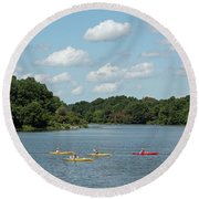 Centennial Lake Kayaks Round Beach Towel