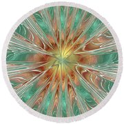 Center Hot Energetic Explosion Round Beach Towel