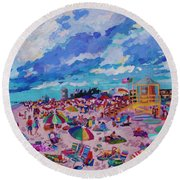 Center Panel Of Triptych Busy Relaxing Round Beach Towel