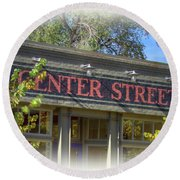 Center Street Cafe Sign Round Beach Towel