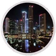 Central Business District, Singapore Round Beach Towel