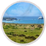 Central Coast Panorama - Hwy 1 Round Beach Towel by Lynn Bauer