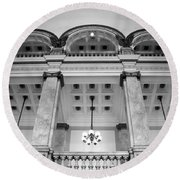 Central Library Milwaukee Interior Bw Round Beach Towel