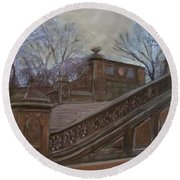 Central Park Bethesda Staircase Round Beach Towel
