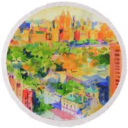 Central Park From The Carlyle Round Beach Towel