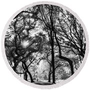 Central Park In Black And White Round Beach Towel
