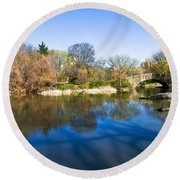 Central Park In New York City Round Beach Towel