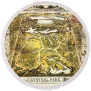 Central Park Map, Manhattan New York, 1863 Round Beach Towel