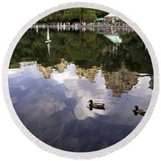 Central Park Pond With Two Ducks Round Beach Towel by Madeline Ellis