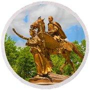 Central Park Sculpture-general Sherman Round Beach Towel