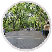 Central Park The Mall Round Beach Towel