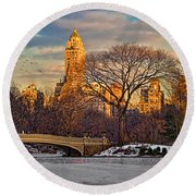 Central Parks Famous Bow Bridge Round Beach Towel