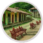Central Plaza In Copala Round Beach Towel