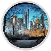 Central View Round Beach Towel