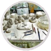 Ceramic Objects And Brushes On The Table Round Beach Towel