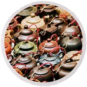 Ceramic Teapots Round Beach Towel
