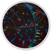 Cern Atomic Collision  Physics And Colliding Particles Round Beach Towel
