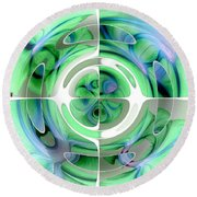 Cerulean Blue And Jade Abstract Collage Round Beach Towel