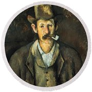 Cezanne: Pipe Smoker, C1892 Round Beach Towel