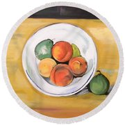 Cezannes Fruit Bowl Round Beach Towel
