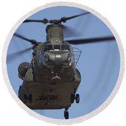 Ch-47 Chinook Flies Over Playas Round Beach Towel