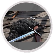 Chain Mail And Sword Round Beach Towel