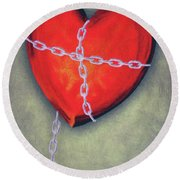 Chained Heart Round Beach Towel by Jeff Kolker