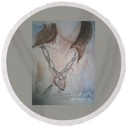 Chained Heart Round Beach Towel
