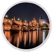 Chains Bridge In Prague Round Beach Towel