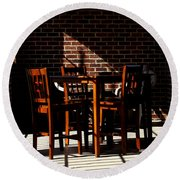 Chairs And Shadows Round Beach Towel