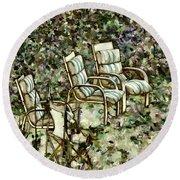 Chairs In Backyard Round Beach Towel