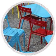 Chairs In Bryant Park Round Beach Towel by Lauri Novak
