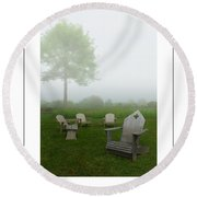 Chairs In The Mist Poster Round Beach Towel