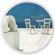 Chairs Of Santorini Round Beach Towel