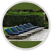 Chairs Of The Deck Round Beach Towel