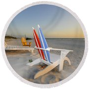 Chairs On The Beach Round Beach Towel