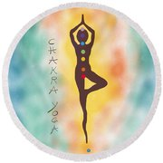 Chakra Yoga Art By Valentina Miletic Round Beach Towel