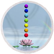 Chakras And Rainbow - 3d Render Round Beach Towel