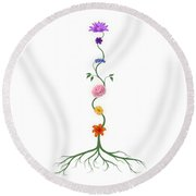 Chakras Shown As Flowers On Stem Growing From Root Art  Round Beach Towel