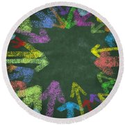 Chalk Drawing Colorful Arrows Round Beach Towel