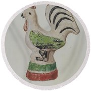 Chalkware Rooster Round Beach Towel