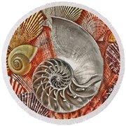 Chambered Nautilus Shell Abstract Round Beach Towel