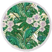 Chameleons And Camellias  Round Beach Towel