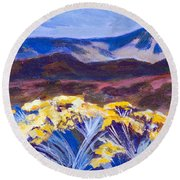 Chamisa And Mountains Of Santa Fe Round Beach Towel