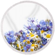 Chamomile And Cornflower Mix Round Beach Towel