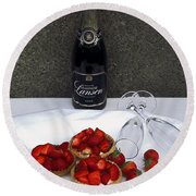 Champagne Bottle With Strawberry Tarts And 2 Glasses Round Beach Towel