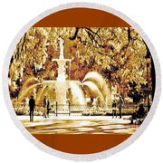 Champagne Twilight Forsyth Park Fountain In Savannah Georgia Usa  Round Beach Towel