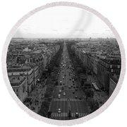 Champs Elysees In Paris Round Beach Towel